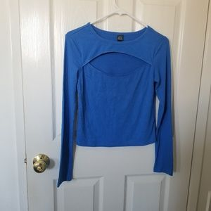 Wild Fable Blue Cut out Long Sleeve